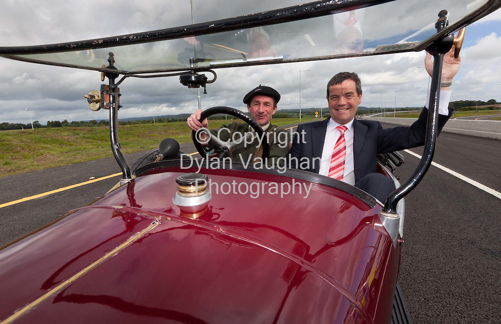 8/9/2010.The Minister for Transport Noel Dempsey T.D pictured being driven by Michael Power in a 1925 Citreon C3 at the official opening of the M9 motorway from Carlow to Knocktopher yesterday ..Picture Dylan Vaughan..