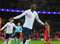 Football - 2019 / 2020 UEFA European Championships Qualifier - Group A: England vs. Montenegro<br /> <br /> Tammy Abraham of England celebrates scoring goal no 7, at Wembley Stadium.<br /> <br /> This game is England men's 1,000 international match.<br /> <br /> COLORSPORT/ANDREW COWIE