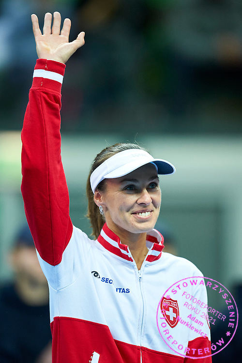 Martina Hingis from Switzerland while opening ceremony during the Fed Cup / World Group Play Off tennis match between Poland and Switzerland on April 18, 2015 in Zielona Gora, Poland<br /> Poland, Zielona Gora, April 18, 2015<br /> <br /> Picture also available in RAW (NEF) or TIFF format on special request.<br /> <br /> For editorial use only. Any commercial or promotional use requires permission.<br /> <br /> Adam Nurkiewicz declares that he has no rights to the image of people at the photographs of his authorship.<br /> <br /> Mandatory credit:<br /> Photo by &copy; Adam Nurkiewicz / Mediasport