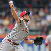 Pitcher J.J. Hoover, Cincinnati Reds, pitching during the New York Mets Vs Cincinnati Reds MLB regular season baseball game at Citi Field, Queens, New York. USA. 28th June 2015. Photo Tim Clayton