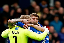 Oldham Athletic players celebrate at full time - Mandatory by-line: Matt McNulty/JMP - 15/04/2017 - FOOTBALL - Boundary Park - Oldham, England - Oldham Athletic v Bolton Wanderers - Sky Bet League 1