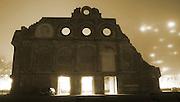 anhalter bahnhof at nightin the mist, berlin, germany