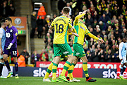 Norwich City midfielder Mario Vrancic (8)  celebrates his goal during the EFL Sky Bet Championship match between Norwich City and Blackburn Rovers at Carrow Road, Norwich, England on 27 April 2019.