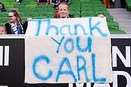 MELBOURNE, AUSTRALIA - APRIL 14: A young fan holds a sign that reads 'Thank you Carl' in support of Carl Valeri (21) of the Victory who has recently announced retirement during round 25 of the Hyundai A-League match between Melbourne Victory and Central Coast Mariners on April 14, 2019 at AAMI Park in Melbourne, Australia. (Photo by Speed Media/Icon Sportswire)