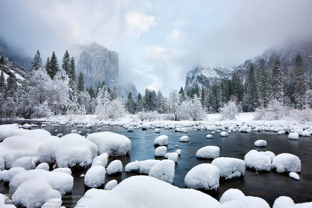 Gates of the Valley as seen after a heavy winter snow fall in Yosemite Valley - Yosemite National Park, California
