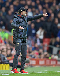 LIVERPOOL, ENGLAND - Sunday, March 31, 2019: Liverpool's manager Jürgen Klopp reacts during the FA Premier League match between Liverpool FC and Tottenham Hotspur FC at Anfield. (Pic by David Rawcliffe/Propaganda)