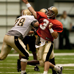 08 August 2009: Quarterback Joey Harrington (3) throws a pass during the New Orleans Saints annual training camp Black and Gold scrimmage held at the team's indoor practice facility in Metairie, Louisiana.
