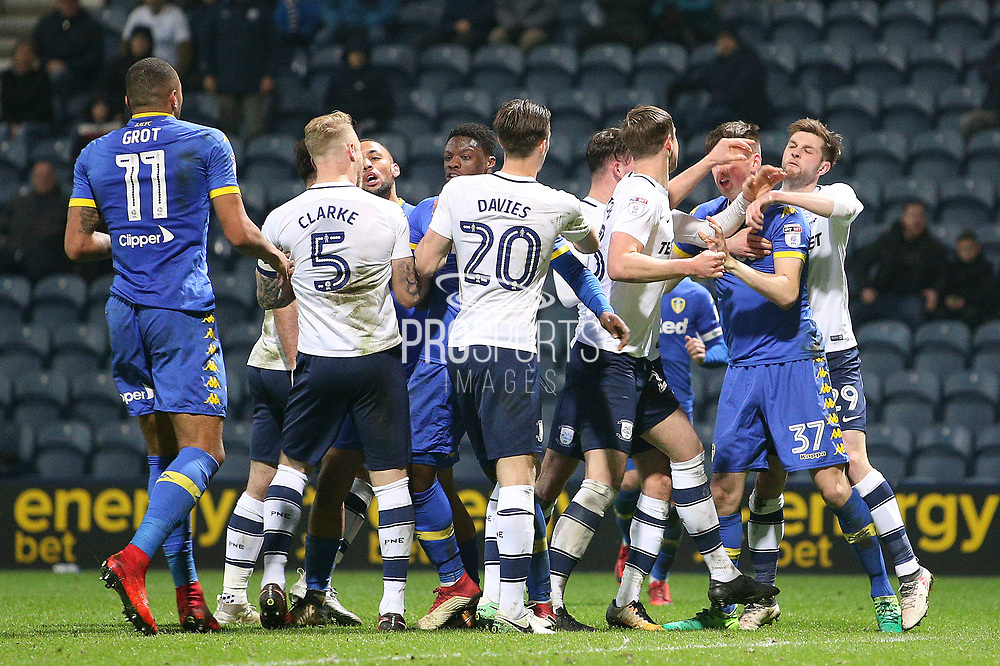 Players from both sides get involved during the EFL Sky Bet Championship match between Preston North End and Leeds United at Deepdale, Preston, England on 10 April 2018. Picture by Craig Galloway.