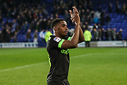 Forest Green Rovers Reece Brown(10) applauds the fans at the end of the match during the EFL Sky Bet League 2 play off first leg match between Tranmere Rovers and Forest Green Rovers at Prenton Park, Birkenhead, England on 10 May 2019.