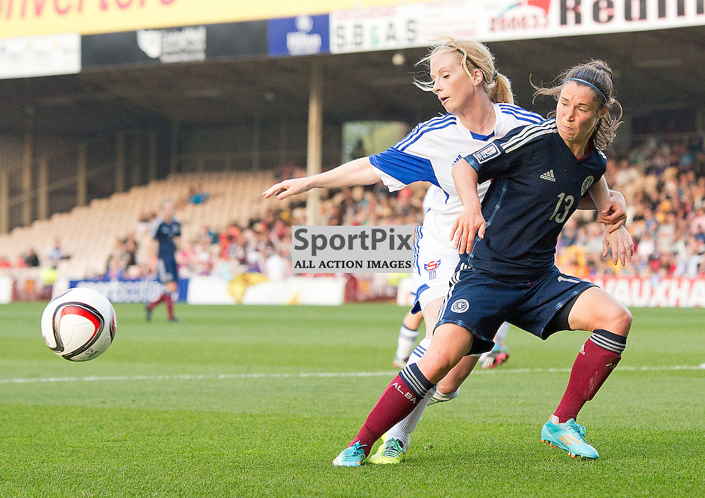 Scotland v Faroe Islands FIFA Women's World Cup Canada 2015 Qualifier 13 September 2014; Faroe Island's Liljan Petersen and Scotland's Jane Ross fight for possession during the Scotland v Faroe Islands Women's World Cup Qualifier played at Fir Park Stadium, Motherwell;