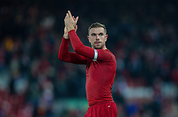 LIVERPOOL, ENGLAND - Saturday, November 30, 2019: Liverpool's captain Jordan Henderson applauds the supporters after the FA Premier League match between Liverpool FC and Brighton & Hove Albion FC at Anfield. Liverpool won 2-1 with ten men. (Pic by David Rawcliffe/Propaganda)