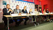 (L-R) Piotr Szkielkowski and Krzysztof Kowal Dorota Haller and Monika Malek and Agnieszka Radwanska and Klauda Jans Ignacik and Alicja Rosolska and Tomasz Wiktorowski during press conference of Polish Tennis Association before Fed Cup match at National Stadium in Warsaw, Poland.<br /> <br /> Poland, Warsaw, December 15, 2014<br /> <br /> Picture also available in RAW (NEF) or TIFF format on special request.<br /> <br /> For editorial use only. Any commercial or promotional use requires permission.<br /> <br /> Mandatory credit:<br /> Photo by © Adam Nurkiewicz / Mediasport