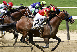June 9, 2018 - Elmont, New York, U.S - HOPPORTUNITY (ridden by FLAVIEN PRAT), a horse trained by Bob Baffert who also trained Triple Crown-winning Justify and American Pharoah, running ahead of the pack in the Brooklyn Invitational at Belmont Park in New York on Belmont Stakes Day. Hopportunity won the Brooklyn. Later in the day, Justify won the Belmont Stakes here. (Credit Image: © Staton Rabin via ZUMA Wire)