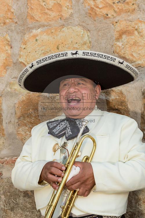 A mariachi musician dressed in traditional charro costumes November 5, 2013 in Oaxaca, Mexico.