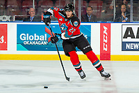 KELOWNA, BC - OCTOBER 2:  Dillon Hamaliuk #22 of the Kelowna Rockets passes the puck against the Tri-City Americans  at Prospera Place on October 2, 2019 in Kelowna, Canada. Hamaliuk was selected by the San Jose Sharks in the 2019 NHL entry draft. (Photo by Marissa Baecker/Shoot the Breeze)
