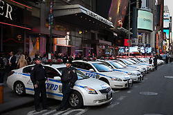 Heavy presence of police officers and vehicles in New York after the bombing that killed 3 people in Boston, New York, USA, Photo taken Monday 15 April 2013. Tuesday 16 April, 2013, Photo by: Daniel Leal-Olivas / i-Images