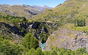 AJ Hackett's private bungy jumping suspension bridge. Looking across Skipper's Canyon and the Shotover River, near Queenstown, Otago, New Zealand.  Skipper's Canyon is an historical gold mining area of the Otago Region.