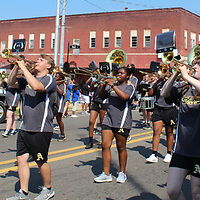 The Amory High School band marches down Main Street as part of the Junior Auxiliary of Amory's Back to School Bash.