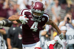 Texas A&M wide receiver Damion Ratley (4) races to the end zone for a touchdown against Louisiana-Lafayette during the first quarter of an NCAA college football game Saturday, Sept. 16, 2017, in College Station, Texas. (AP Photo/Sam Craft)
