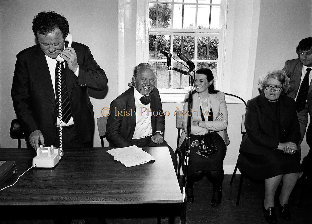 Mark Killilea TD, Minister of State at the Department of Posts and Telegraphs, opens the new automatic exchange at Kilronan on Inismore.<br /> 20 June 1980