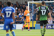 AFC Wimbledon goalkeeper George Long (1) with ball in hand during the EFL Sky Bet League 1 match between AFC Wimbledon and Doncaster Rovers at the Cherry Red Records Stadium, Kingston, England on 26 August 2017. Photo by Matthew Redman.