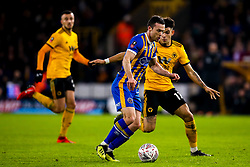 Shaun Whalley of Shrewsbury Town takes on Morgan Gibbs-White of Wolverhampton Wanderers - Mandatory by-line: Robbie Stephenson/JMP - 05/02/2019 - FOOTBALL - Molineux - Wolverhampton, England - Wolverhampton Wanderers v Shrewsbury Town - Emirates FA Cup fourth round replay