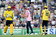 Tom Helm of Middlesex celebrates the wicket of Sam Northeast during the Vitality T20 Blast South Group match between Hampshire County Cricket Club and Middlesex County Cricket Club at the Ageas Bowl, Southampton, United Kingdom on 20 July 2018. Picture by Dave Vokes.