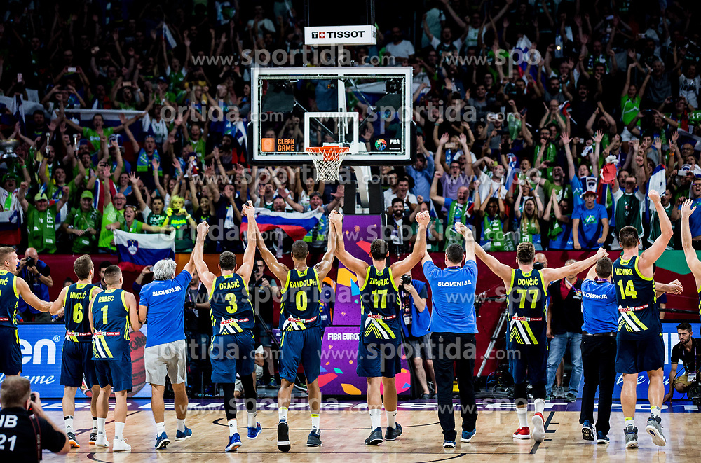 Players and fans of Slovenia celebrate after winning during basketball match between National Teams of Slovenia and Spain at Day 15 in Semifinal of the FIBA EuroBasket 2017 at Sinan Erdem Dome in Istanbul, Turkey on September 14, 2017. Photo by Vid Ponikvar / Sportida