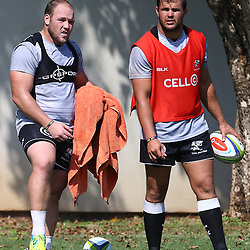 DURBAN, SOUTH AFRICA, 4 April, 2016 - Franco Marais with Franco Marais during The Cell C Sharks training session  at Growthpoint Kings Park in Durban, South Africa. (Photo by Steve Haag)<br /> images for social media must have consent from Steve Haag