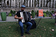 Accordion player Tony Kovatch performing at Bryant Park's Accordions Around The World festival.