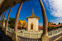 Views from the Temple of the Emerald Buddha, Silver Pagoda,Royal Palace, Phnom Penh, Cambodia.