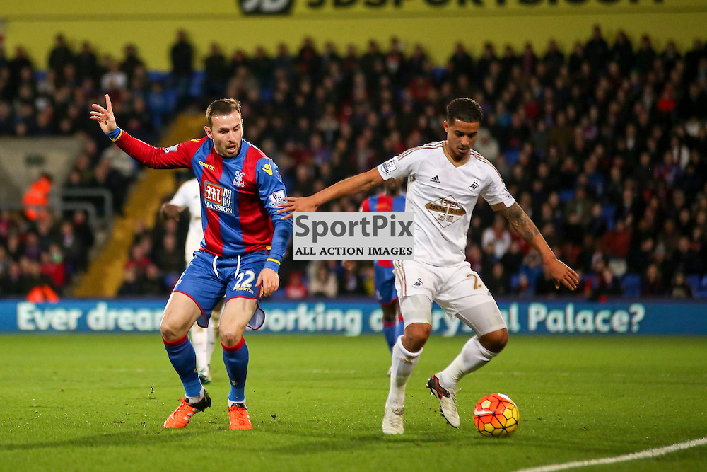 Jordon Mutch of Crystal Palace applies pressure During Crystal Palace vs Swansea on Monday the 28th December 2015.