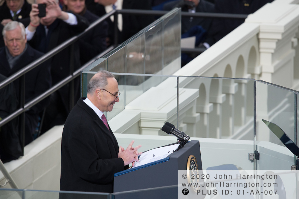 Sen. Charles Schumer addresses the 57th Presidential Inauguration of President Barack Obama at the U.S. Capitol Building in Washington, DC January 21, 2013.