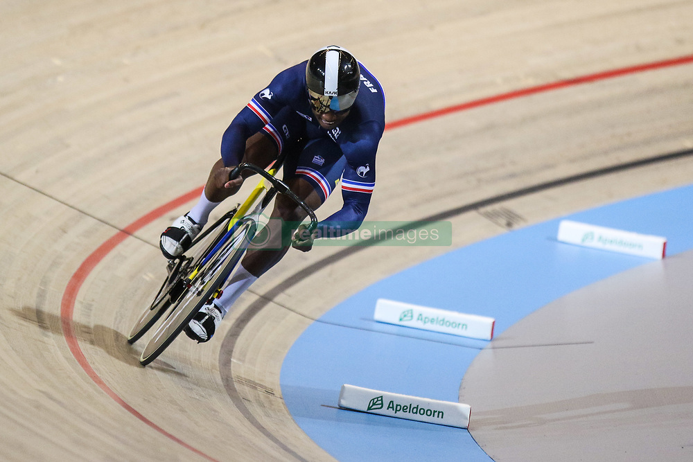 March 2, 2018 - Apeldoorn, Netherlands - Melvin Landerneau of France competes in Men's sprint qualifying during the UCI Track Cycling World Championships in Apeldoorn on March 2, 2018. (Credit Image: © Foto Olimpik/NurPhoto via ZUMA Press)