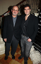 Left to right, writer SALMAN RUSHDIE and his son ZAFAR RUSHDIE at a party to launch the Ermenegildo Zegna Heritage Collection fo men at The Duchess Palace, Mansfield Street, London on 30th November 2006.<br /><br />NON EXCLUSIVE - WORLD RIGHTS