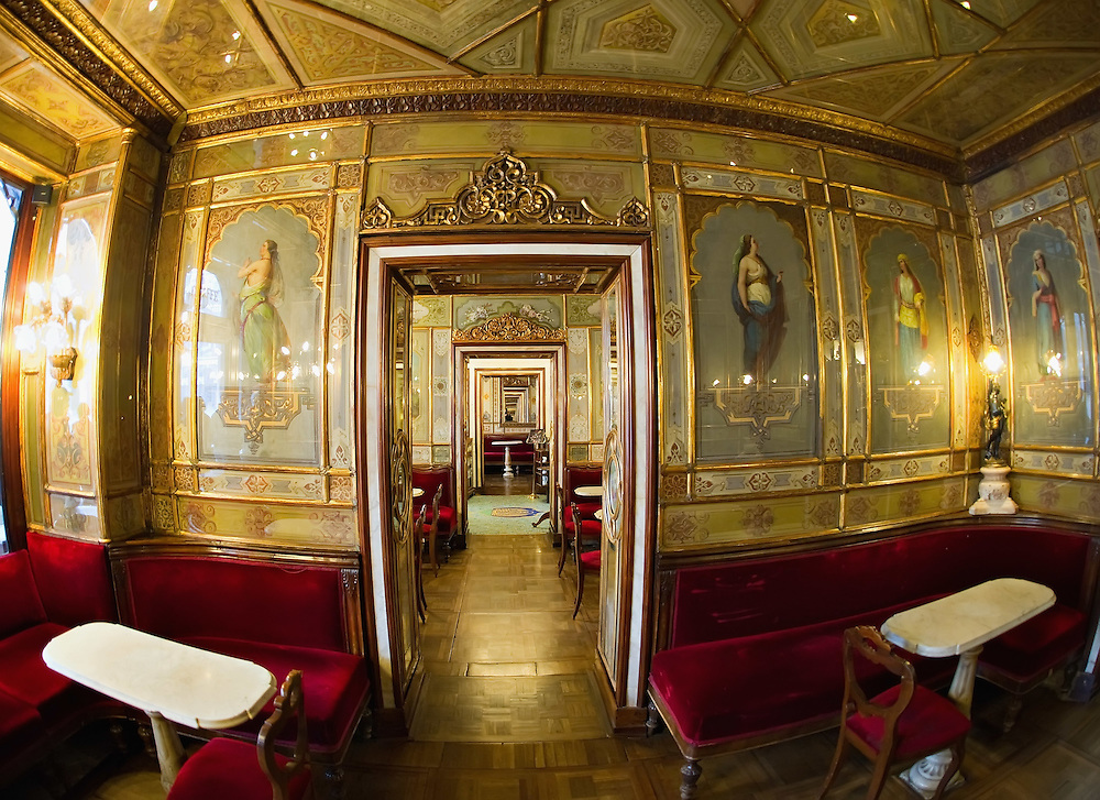 VENICE, ITALY - DECEMBER 02:  A fisheye view inside the Caffe Florian on December 2, 2011 in Venice, Italy.The Venetian coffee houses have a  long standing history, established at the beginning of 1700 around St. Mark Square have been the centre of cultural meeting and innovations for centuries and served customers like Dickens, Goethe, Casanova and Lord Byron.