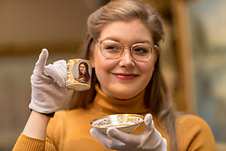The Bonham's Home & Interiors Sale takes place on 21-22 February and features  a wide array of silver and porcelain.<br /> <br /> Pictured: Jaine Heggie  of Bonhams with a Naples Poulard Prad Portrait cup and saucerith