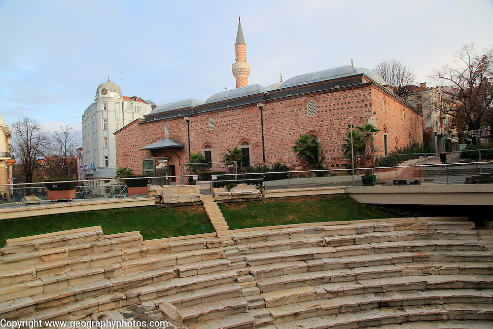 Roman stadium and mosque in the city centre of Plovdiv, Bulgaria, eastern Europe
