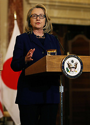 U.S. Secretary of State Hillary Clinton speaks during a joint press conference with Japanese Foreign Minister Fumio Kishida at the Department of State in Washington D.C., the United States, January 18, 2013. Photo by Imago / i-Images...UK ONLY