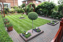 Manicured well kept ornate front garden, Nottingham