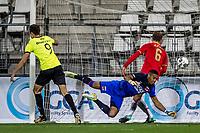 ALKMAAR - 12-09-2017, Jong AZ - Telstar, AFAS Stadion, 2-2, Telstar speler Andrija Novakovich, Jong AZ speler Koen Bucker, Jong AZ speler Teun Koopmeiners