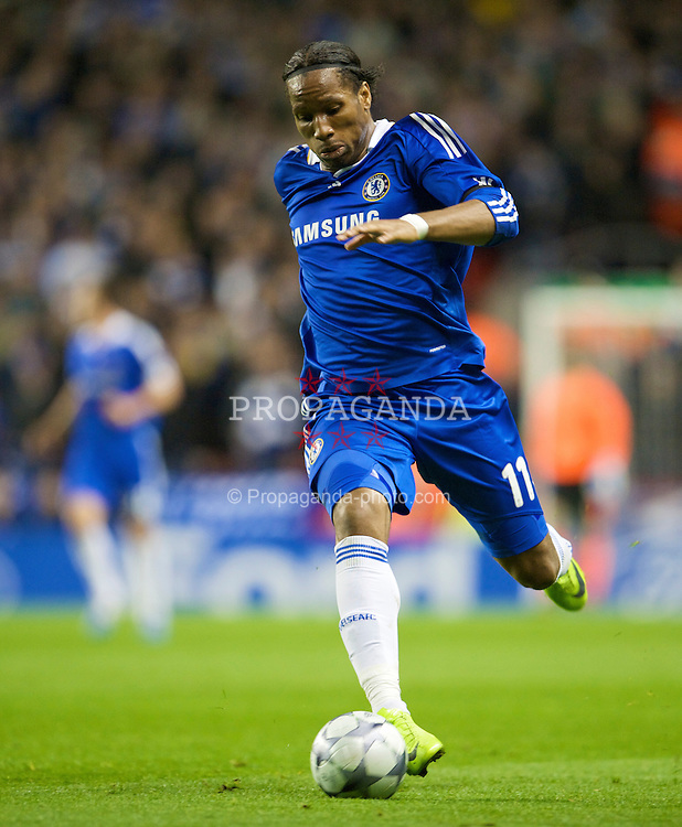 LIVERPOOL, ENGLAND - Wednesday, April 8, 2009: Chelsea's Didier Drogba in action against Liverpool during the UEFA Champions League Quarter-Final 1st Leg match at Anfield. (Photo by David Rawcliffe/Propaganda)