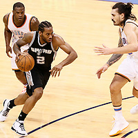 08 May 2016: San Antonio Spurs forward Kawhi Leonard (2) drives past Oklahoma City Thunder guard Dion Waiters (3) on a screen set by San Antonio Spurs forward LaMarcus Aldridge (12), and faces Oklahoma City Thunder center Steven Adams (12) during the Oklahoma City Thunder 111-97 victory over the San Antonio Spurs, during Game Four of the Western Conference Semifinals of the NBA Playoffs at the Chesapeake Energy Arena, Oklahoma City, Oklahoma, USA.