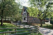Fachwerk, Bauernhaeuser, Freilichtmuseum Kommern, Naturpark Hohes Venn, Eifel, Nordrhein-Westfalen, Deutschland.|.timber framed farm houses, open air museum  in Kommern, Eifel, North Rhine-Westphalia, Germany