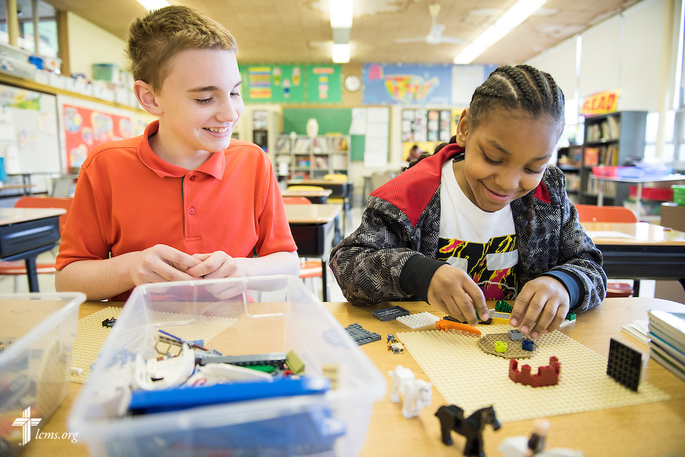 Nash Siemers (left) and Josiahis Walker play together during free time in class at Lutheran Special School & Education Services, located in Milwaukee Lutheran High School, on Tuesday, May 19, 2015, in Milwaukee, Wis. LCMS Communications/Erik M. Lunsford
