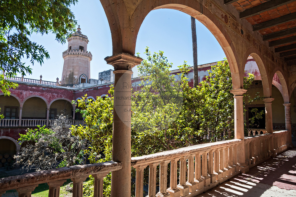 View of the derelict and fading Hacienda de Jaral de Berrio in Jaral de Berrios, Guanajuato, Mexico. The abandoned Jaral de Berrio hacienda was once the largest in Mexico and housed over 6,000 people on the property and is credited with creating Mescal.