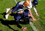 Moravia's Nick Dwyer reaches for a bobbled fourth-down, goal-line pass during the third quarter of the Blue Devils' 60-20 loss to Tioga Saturday afternoon in Moravia. Defending the play is Tioga defensive back David Ulrich.