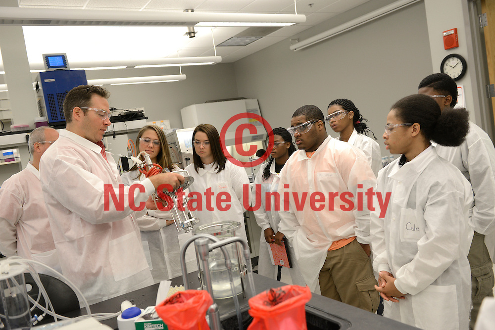 Bertie County school students work with NC State professors in the BTEC facility on Centennial Campus as part of a summer camp. Photo by Marc Hall