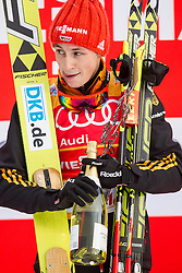 18.01.2014, Casino Arena, Seefeld, AUT, FIS Weltcup Nordische Kombination, Seefeld Triple, Podium, im Bild Sieger Eric Frenzel (GER) // Winner Eric Frenzel (GER) during Winner Award Ceremony at FIS Nordic Combined World Cup Triple at the Casino Arena in Seefeld, Austria on 2014/01/18. EXPA Pictures © 2014, PhotoCredit: EXPA/ JFK