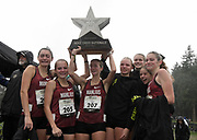 Dec 2, 2017; Portland, OR, USA; Members of the Manlius girls team pose after winning the team title during the 2017 Nike Cross Nationals at Glendoveer Golf Course. Team members include Alex Villalba (202), Grace Kaercher (203), Palmer Madsen (204), Becca Walters (205), Phoebe White (206), Sophia Ryan (207) and Claire Walters (208).